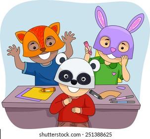 Illustration of Kids Wearing Colorful Animal Masks