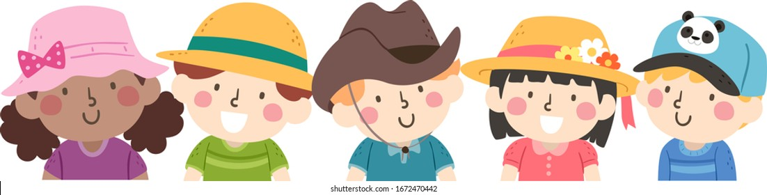 Illustration of Kids Wearing Colorful Hats from Sun, Straw, Cowboy to Cap to Celebrate Hat Day
