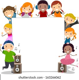 Illustration of Kids Wearing Dancing Costumes Surrounding a Blank Board