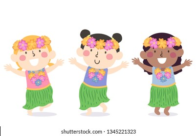 Illustration of Kids Wearing Hawaiian Costume with Flower Necklace and Headdress