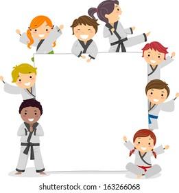 Illustration of Kids Wearing Karate Uniforms Surrounding a Blank Board
