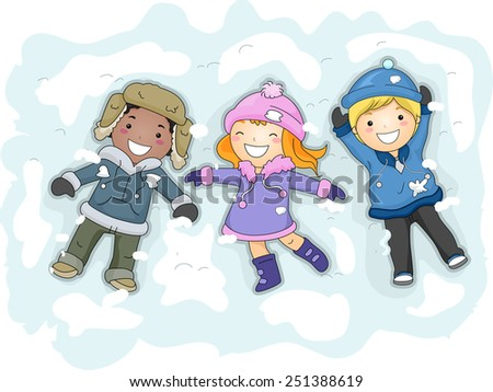 f22c9004e5dd Illustration Kids Winter Gear Lying On Stock Vector (Royalty Free ...