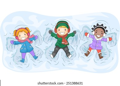 Illustration of Kids in Winter Gear Making Snow Angels