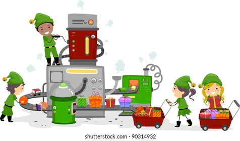 Illustration of Kids Working in a Gift Factory