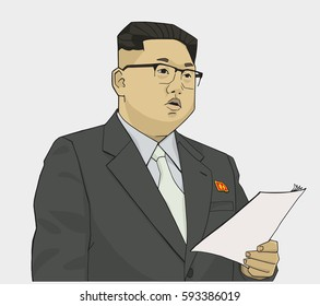 Illustration of Kim Jong-un holding a speech in color