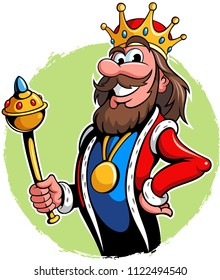 Illustration of a king with the golden scepter, vector king cartoon character.