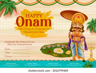 illustration of King Mahabali in Onam traditional festival background showing culture of Kerala, South India