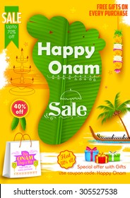 illustration of King Mahabali's feet shaped banana leaf in Onam Sadya sale background