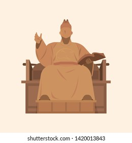 Illustration of King Sejong of Korea. Vector EPS10