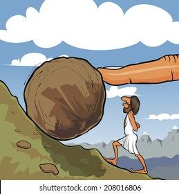 Illustration of king Sisyphus rolling a boulder up the hill. A big God's finger helps him to roll it.