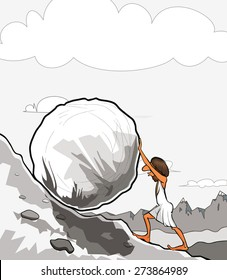 Illustration of king Sisyphus rolling a boulder up the hill.