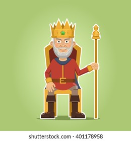 Illustration of a king sitting on a throne. Old king with golden crown isolated on abstract background. Simple style vector illustration