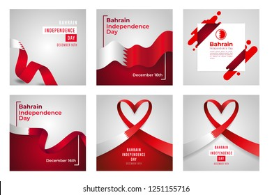 Illustration Of Kingdom of Bahrain Independence Day Banner Or Poster Design Set With National Flag Color Theme Background.