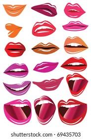 illustration kit lips on white background