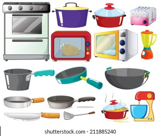 Illustration of kitchen equipments