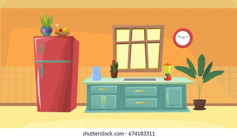 illustration kitchen / vector kitchen / cartoon kitchen