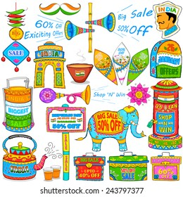 illustration of kitsch art of India showing sale and promotion