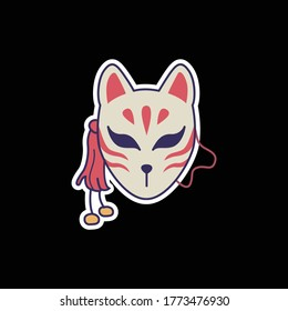 Illustration of kitsune mask sticker