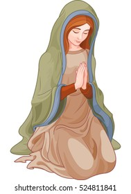 Illustration of kneeling woman praying
