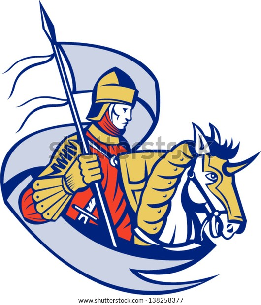 Illustration of knight in full armor with flag banner and shield riding horse steed done in retro woodcut style.