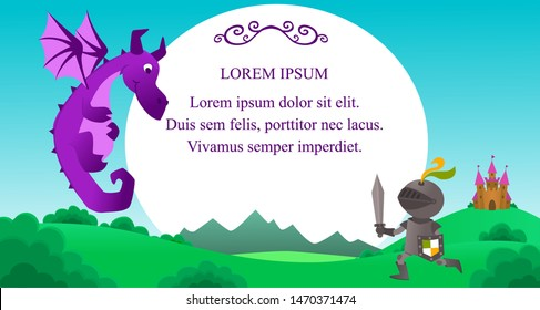 Illustration with knight that protects the castle from the violet dragon. Fight of  brave warrior and dragon