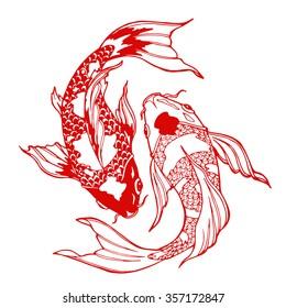 illustration of koi carp, coloring page, yin yang