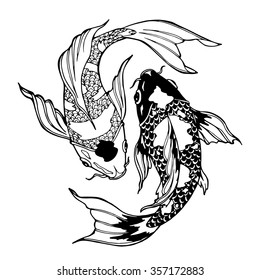 illustration of koi carp, coloring page, yin yang