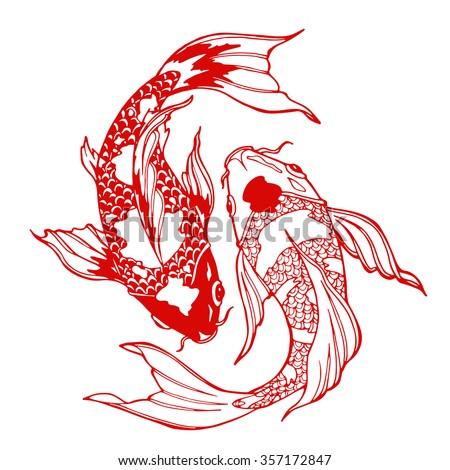 Illustration Of Koi Carp Coloring Page Yin Yang