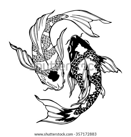 Illustration Koi Carp Coloring Page Yin Vector De Stock Libre De
