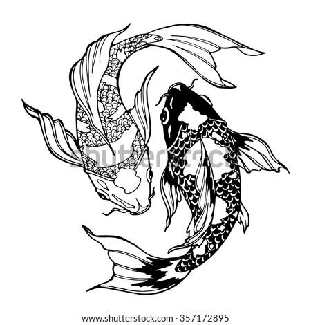 Illustration Koi Carp Coloring Page Yin Stock Vector (Royalty Free ...