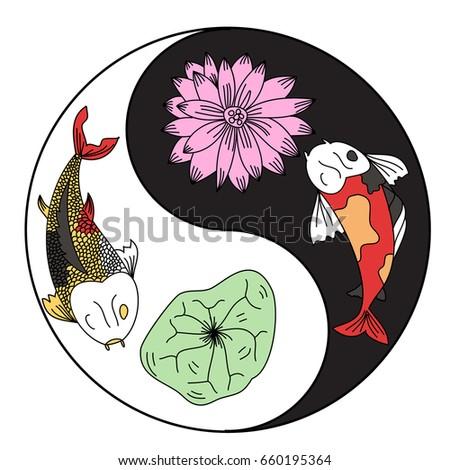 Illustration Koi Carp Coloring Page Yin Stock Vector Royalty Free