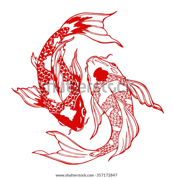 Illustration Koi Carp Coloring Page Yin Royalty Free Stock