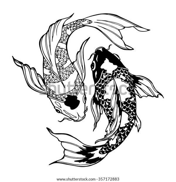 Illustration Koi Carp Coloring Page Yin Stock Vector