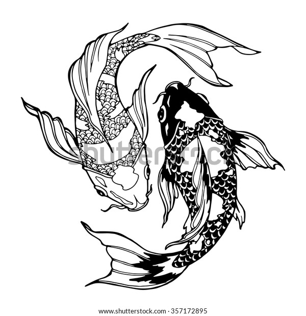 Image Vectorielle De Stock De Illustration De Carpe De Koi