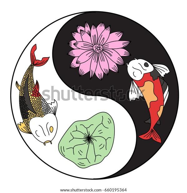 Illustration Koi Carp Coloring Page Yin Stock Vector