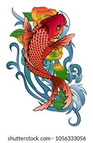 illustration of a koi fish jump tattoo in color and black and white on white background