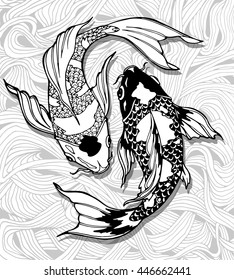 illustration with koi fishes with background