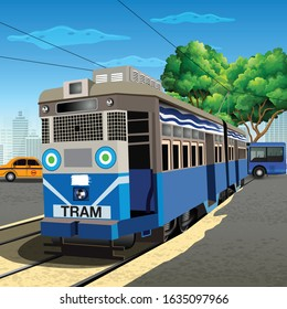 ILLUSTRATION OF KOLKATA TRAM SERVICE