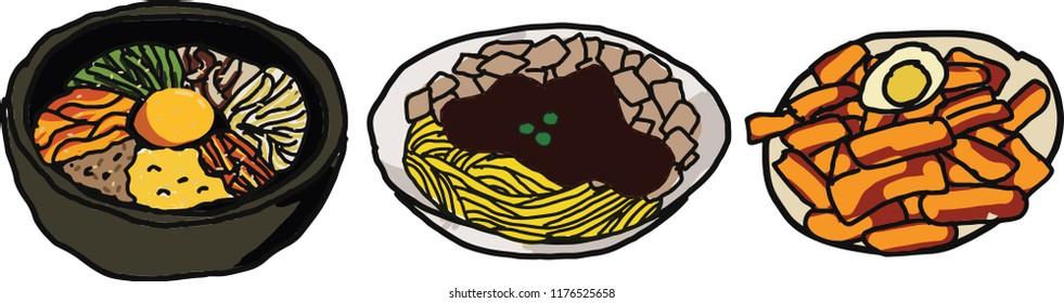 Illustration of Korean Food : Bibimbap, Jajangmyeon, and Tteokbokki
