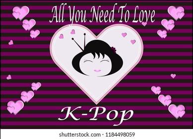 illustration kpop kawii background card 260nw 1184498059