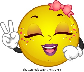 Illustration of a KPop Smiley Mascot Posing with a V Sign and Smiling