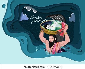 Illustration of Krishna Janmashtami background in vector with paper cut out patter base concept