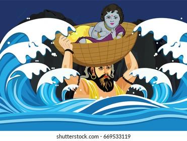 Illustration of Krishna Janmashtami background in vector