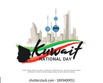 Illustration Of Kuwait National Day Banner Or Poster Design With National Flag Color Theme Background.