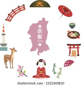 It is an illustration of a Kyoto set.