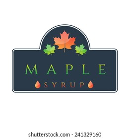 Illustration of label maple syrup. Vector