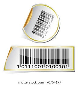 Illustration labels with bar code on a white background. Vector.