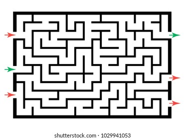 Illustration with labyrinth, maze conundrum for kids. Entry and exit. Children puzzle game.