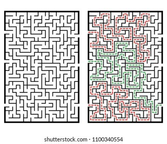Illustration with labyrinth, maze conundrum for kids. Baby puzzle with entry and exit. Children puzzle game.