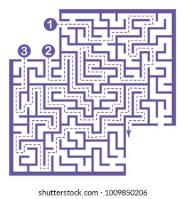 Illustration with labyrinth with places for your images, maze conundrum for kids. Entry and exit. Children puzzle game.